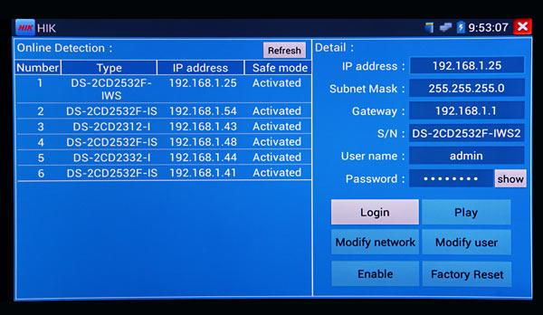 TESTER7-IP-3HD HIKVision IP Cameras using the SADP tool